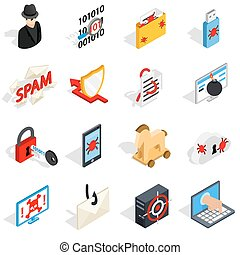 Hacking icons set, isometric 3d style - Isometric 3d hacking...