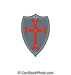 Medieval shield with red cross icon, flat style
