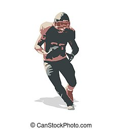 American football player, vector illustration. Run, team sport