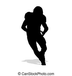 American football player running with ball in hand and dribbles. Vector silhouette