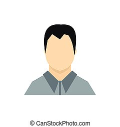Man in gray shirt icon, flat style