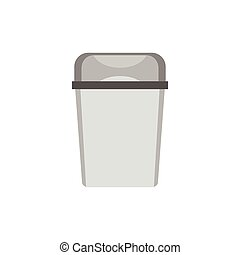 Kitchen garbage can icon, flat style - Kitchen garbage can...