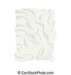 Wrinkled paper icon, flat style - Wrinkled paper icon in...