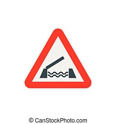 Lifting bridge warning sign icon, flat style - icon in flat...