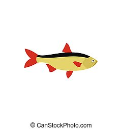Rudd fish icon in flat style - icon in flat style on a white...