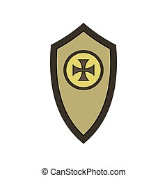 Warrior shield with cross icon, flat style