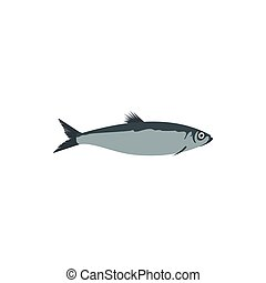 Herring fish icon in flat style - icon in flat style on a...
