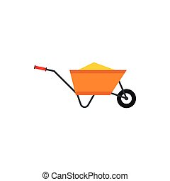 Wheelbarrow with construction debris icon in flat style...