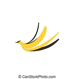 Banana peel icon, flat style - Banana peel icon in flat...