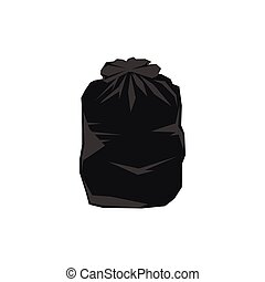 Black plastic bag icon, flat style - Black plastic bag icon...