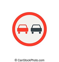 No overtaking road traffic sign icon, flat style - icon in...
