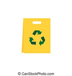 Recyclable plastic bag icon, flat style - Recyclable plastic...