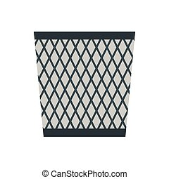 Wastepaper basket icon, flat style - Wastepaper basket icon...