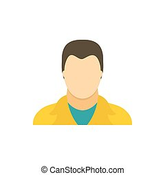 Man in a yellow jacket icon, flat style - icon in flat style...
