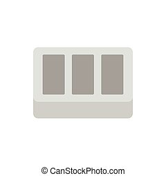 Concrete brick icon, flat style - Concrete brick icon in...