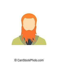 Red bearded man icon, flat style - icon in flat style on a...