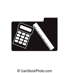 Flat icon in black and white Calculator line folder
