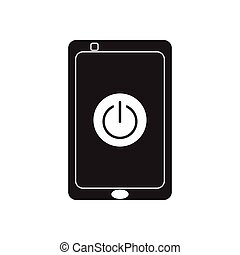 Flat icon in black and white mobile phone switched off -...