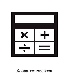Flat icon in black and white calculator
