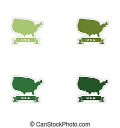 Set of paper stickers on white background united states map