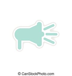 paper sticker on white background loudspeaker