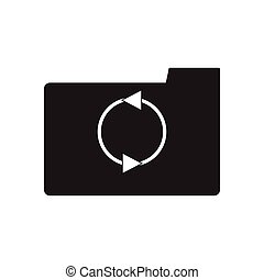 Flat icon in black and white arrow folder