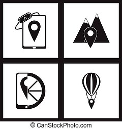Concept flat icons in black and white mobile geolocation
