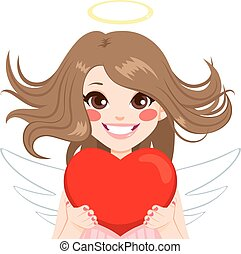 Angel With Heart - Angel with red heart and blowing hair