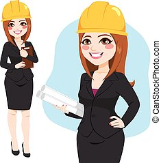 Architect Woman Standing Character - Architect woman...