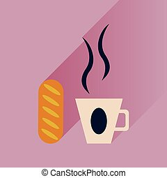 Flat with shadow Icon cup of coffee and bun