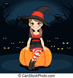 Halloween Witch Night - Cute young witch girl at Halloween...