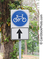 Street signs in road for bicycle - Street signs in road for...