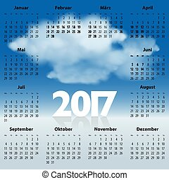 German Calendar for 2017 year with clouds