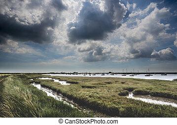 Brooding Suffolk Landscape - Darkening clouds over a wild...
