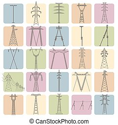High voltage electric line pylon Icon set suitable for...