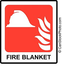 Signs of fire blanket sign. Vector Illustration Emergency symbol for public places.