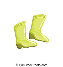 Pair Of Green Rubber Boots Simple Realistic Bright Flat...