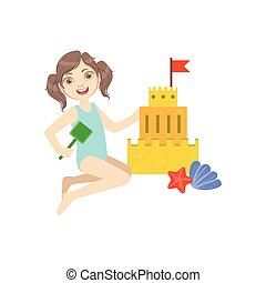Girl Building A Sand Castle Simple Design Illustration In...