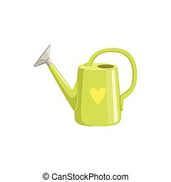 Green Watering Can With Heart Print