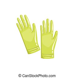 Pair Of Green Rubber Gloves Simple Realistic Bright Flat...