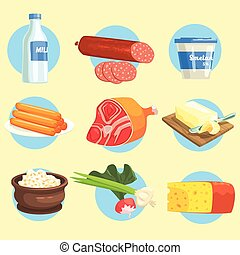 Set Of Farm Product Colorful Stickers - Set Of Fresh Farm...