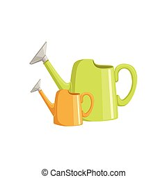 Two Bright Watering Cans Simple Realistic Bright Flat...