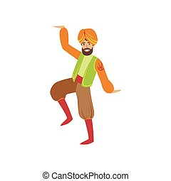 Man Dancing In Sikh Costume Country Cultural Symbol...