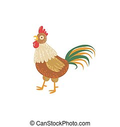 Rooster With Green Tail Standing
