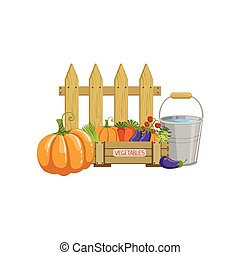 Crate Of Vegetables, Bucket With Water And A Fence Simple...
