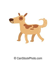 Shepherd Dog Walking Stylized Cute Childish Flat Vector...