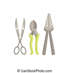 Set Of Gardening Instruments With Scissors And Pruner Simple...