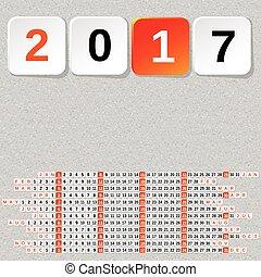 2017 Year Calendar Template Seamless stone background.