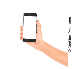 Business hand with mobile phone . - Business hand with...
