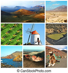 lanzarote collage - a collage of eight pictures of different...